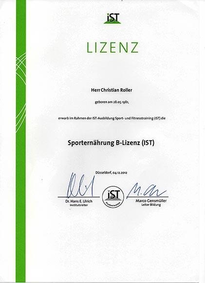 Qualifikationen-Lizenzen-Diplome Sporternährung B-Lizenz