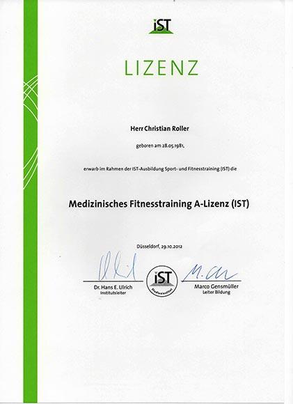 Qualifikationen-Lizenzen-Diplome Medizinisches Fitnesstraining A-Lizenz
