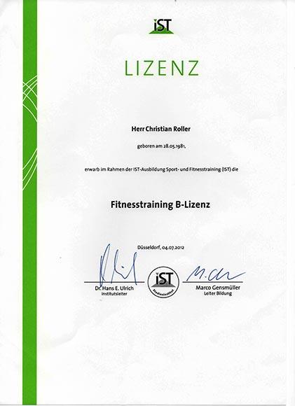 Qualifikationen-Lizenzen-Diplome Fitnesstraining B-Lizenz