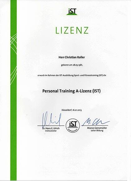 Qualifikationen-Lizenzen-Diplome Personal Training A-Lizenz