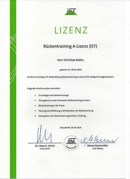 Qualifikationen-Lizenzen-Diplome Rückentraining A-Lizenz